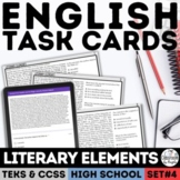 Digital English I & II STAAR Literary Elements Task Cards for Google Forms™