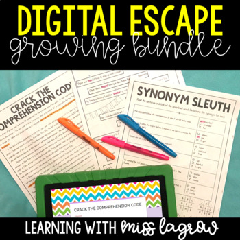 Digital Escape Activities - ELA, Reading, and Math Growing Bundle