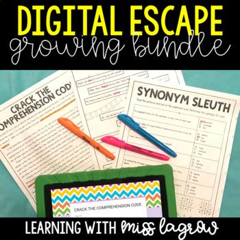 Digital Escape Activities - ELA, Reading, and Math Growing Bundle