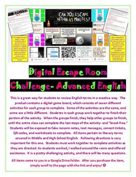 Digital Escape Room Break Out Challenge ELA