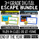 Digital Escape Room Math and Reading Review   End of Year   3rd Grade