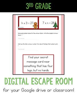 Digital Escape Room 3rd Grade Christmas Math | Distance Learning