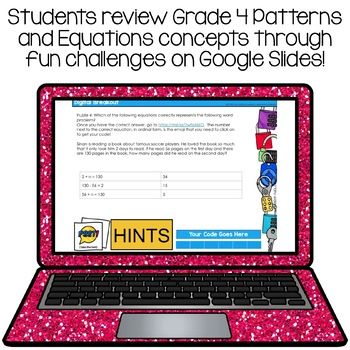 Digital Escape Room Grade 4 Alberta Math Patterns and Equations