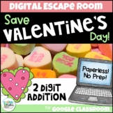 Digital Escape Room: Save Valentine's Day! 2-Digit Addition Breakout Activity