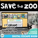 1st Grade Math Digital Escape Room - Save the Zoo! Distance Learning