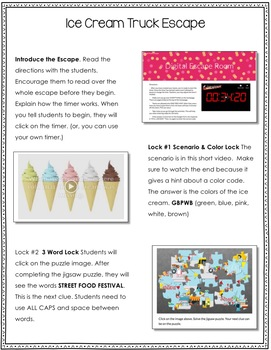 Digital Escape Room: The Missing Ice Cream FREEBIE