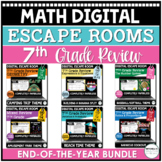 End of the Year Digital Escape Rooms BUNDLE   7th Grade Math   Distance Learning