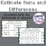 Digital Estimate Sums and Differences of Decimals