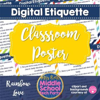 Digital Etiquette Poster Digital Citizenship Netiquette Rules TpT