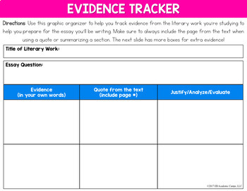 Digital Evidence Tracker Graphic Organizer