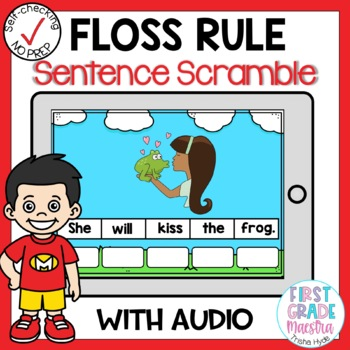 Digital FLOSS Rule Sentence Scrambles Boom Cards