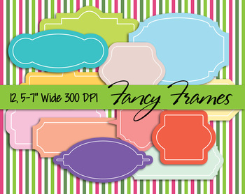 """Digital Fancy Frames • Labels • 5-7"""" Wide, 300dpi • Vector PDF, PNGs and JPGs"""