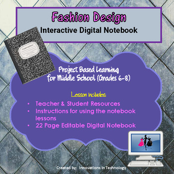 Digital Fashion Design Notebook (Editable)