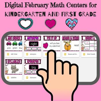 Digital February Literacy Centers for Kindergarten and First Grade