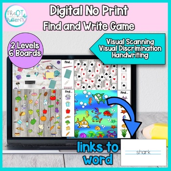 Digital Find & Write Game: NO PRINT visual scanning & handwriting