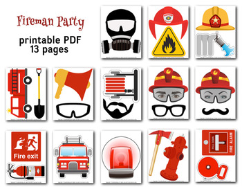 Digital Firefighter Photo Booth Props Printable Firefighter Party Fire 0200