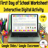 Digital First Day of School Worksheet Grade 3 For Google S