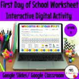 Digital First Day of School Worksheet Grade 4 For Google S