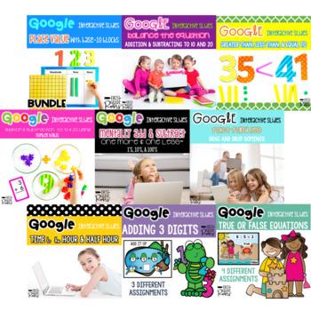 Digital First Grade Math Activity Bundle For Google Drive & Google Classroom