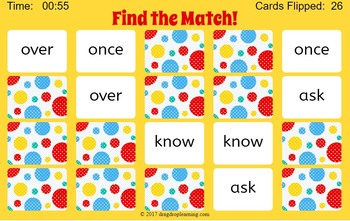 First Grade Sight Words Interactive Memory Game