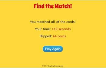DIGITAL Sight Word Matching Game - 1st Grade