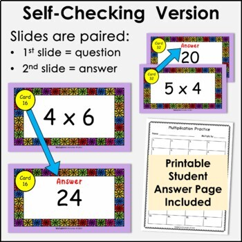 Digital Flash Cards - Multiply by 4