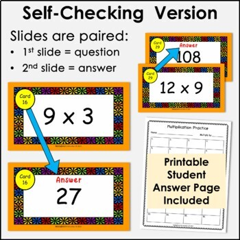 Digital Flash Cards - Multiply by 9