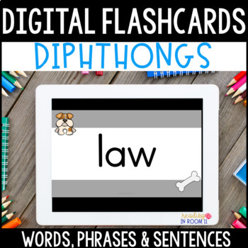 Digital Flashcards: Diphthong Decodable Words, Phrases & Sentences