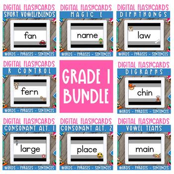 Digital Flashcards: Decodable Words,Phrases & Sentences BUNDLE