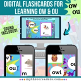 Digital Flashcards for Words with Dipthongs OW & OU - Dist