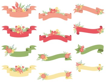 Digital Floral Banners Clip Art Digital Wedding Floral Pink Red Green Yellow