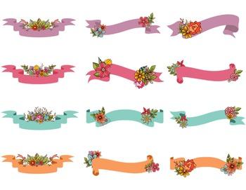 Digital Floral Banners Clip Art Digital Wedding Floral Wed
