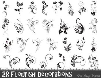 Digital Flourish Decorations Flourish Flowers Clip Art Decorative Embellishment