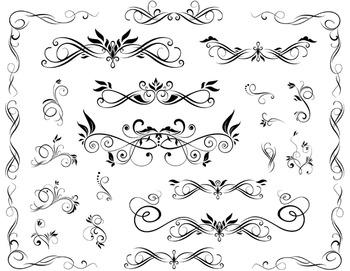 Digital Flourish Swirl Border Frame Clip Art Border Frame Ornate Scrapbook Decor