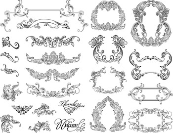 Digital Flourish Swirl Frame Clip Art Frame Decor Ornate V