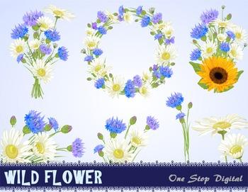 Digital Flower Bouquet Clip Art Flower Wreath Wild Daisy Sunflower