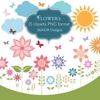 Flowers Clipart Flowers Clip Art Sun Butterflies Clouds Garden Scrapbooking