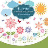 Flowers Clipart Flowers Clip Art Sun Butterflies Clouds Ga