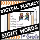 Digital Sight Words First Grade  Fluency Cards