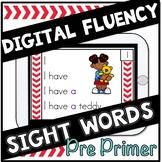 Digital Sight Words Fluency Cards Pre Primer