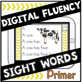 Digital Sight Words Primer Fluency Cards