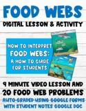 Food Webs 100% Digital Lesson & Activity (Video Lesson+Aut