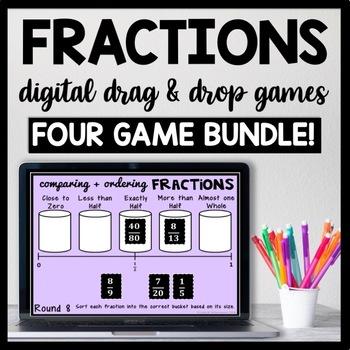 Digital Fraction Game Bundle for Google Drive, Includes 56 slides!