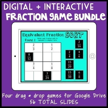 DIGITAL Fraction Game Bundle, 4 Interactive Games for Google Drive
