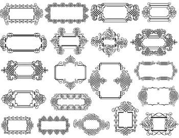 Digital Frame Clip Art Flourish Swirls Frames Scrapbook De