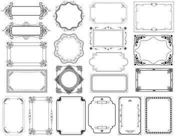 Digital Frame Clip Art Invitation Gift Certificate Scrapbooking Decor