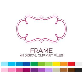 Digital Frame Clipart - 44 digital frames / 3.5x2 inches - A00056