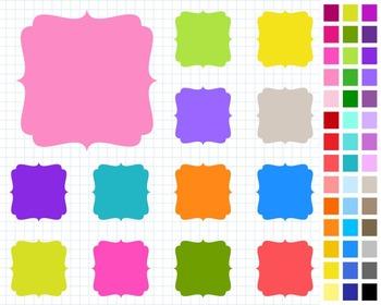 Digital Frame Pack, Labels Clipart, 42 Frames