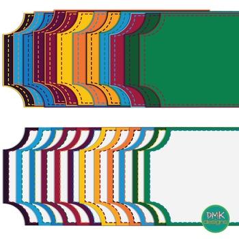 Digital Frame Set-  Dark Rainbow Ticket Frames #3