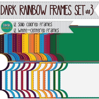 Digital Frame Set-  Dark Rainbow Ticket Frames #3